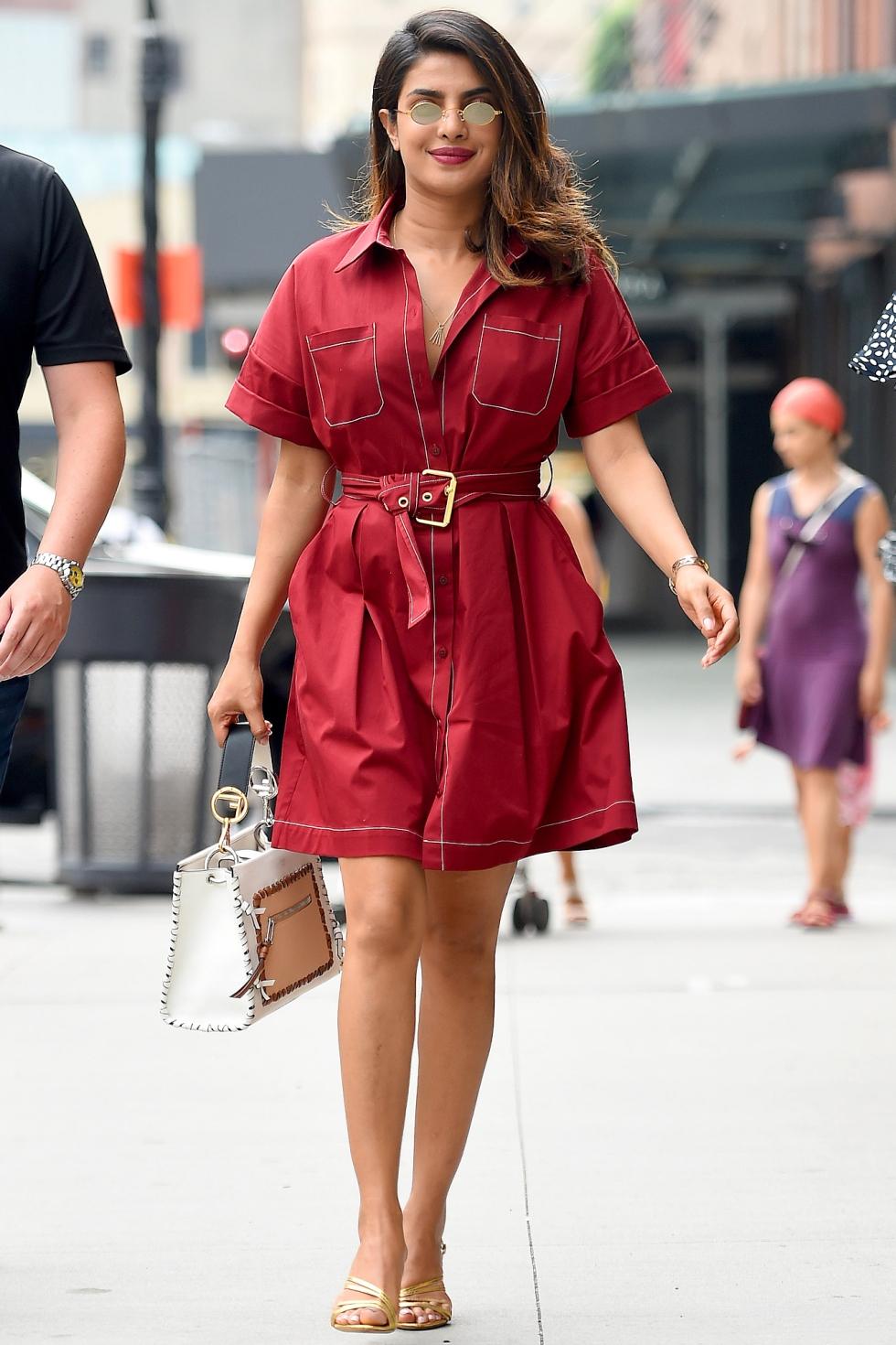 Priyanka Chopra wears a red dress in New York City
