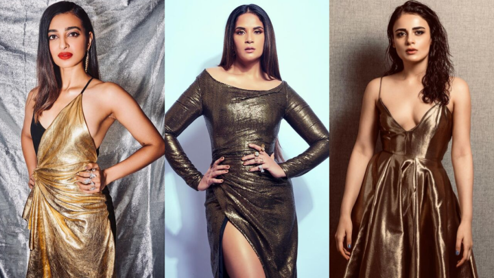 Girls in gold – Radhika Madan, Richa Chadha & Radhika Apte