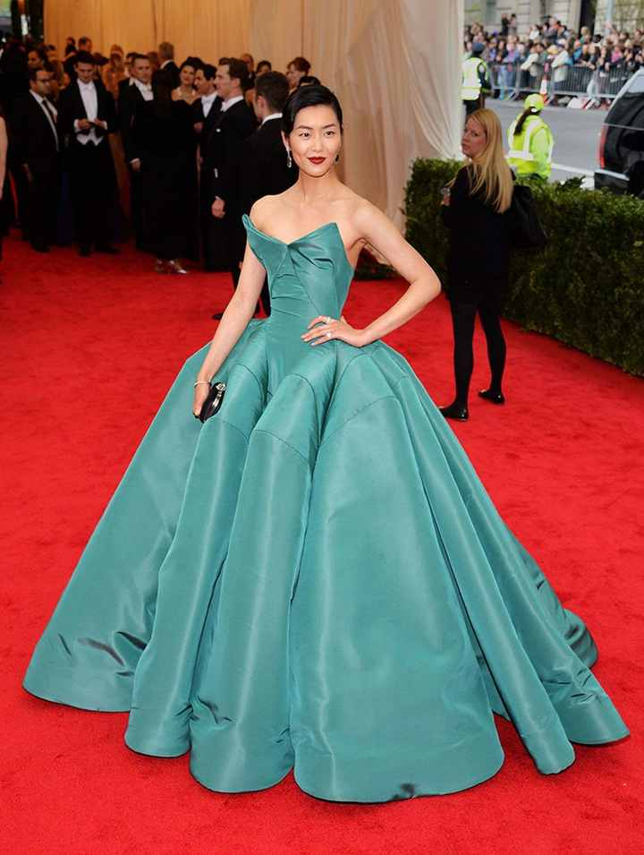 Liu Wen in Zac Posen 2014