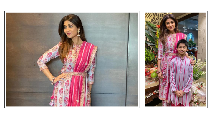 Shilpa Shetty Kundra's Punit Balana outfit for Ganpati Puja is an out-and-outwinner