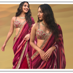Kiara Advani's Berry Red Gharara Set is What You Need for Your Diwali Party